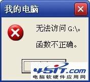 """""""无法访问G: 函数不正确""""的解决方法"""