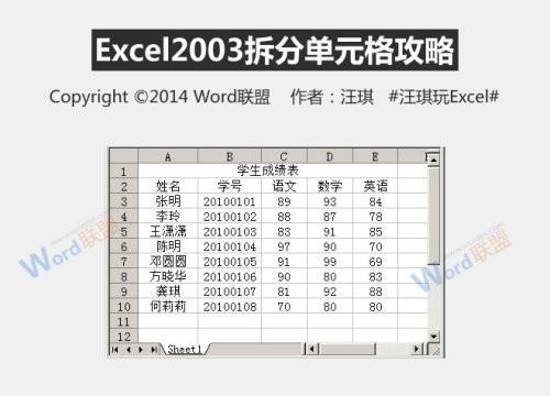 2003版本excel怎么等距拆分单元格