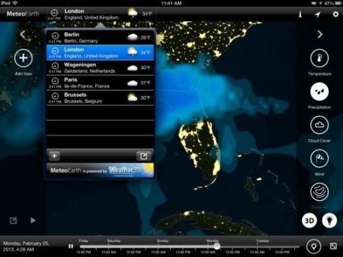 付年费的天气应用MeteoEarth iPad